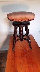 Antique Piano Stool (Burl Walnut)