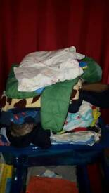 Plastic Tub Of Baby Clothes 3-6 months BOY