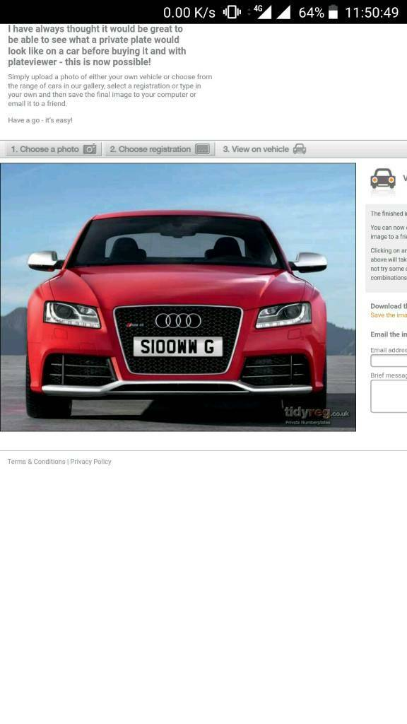 S100WW G private plate for sale