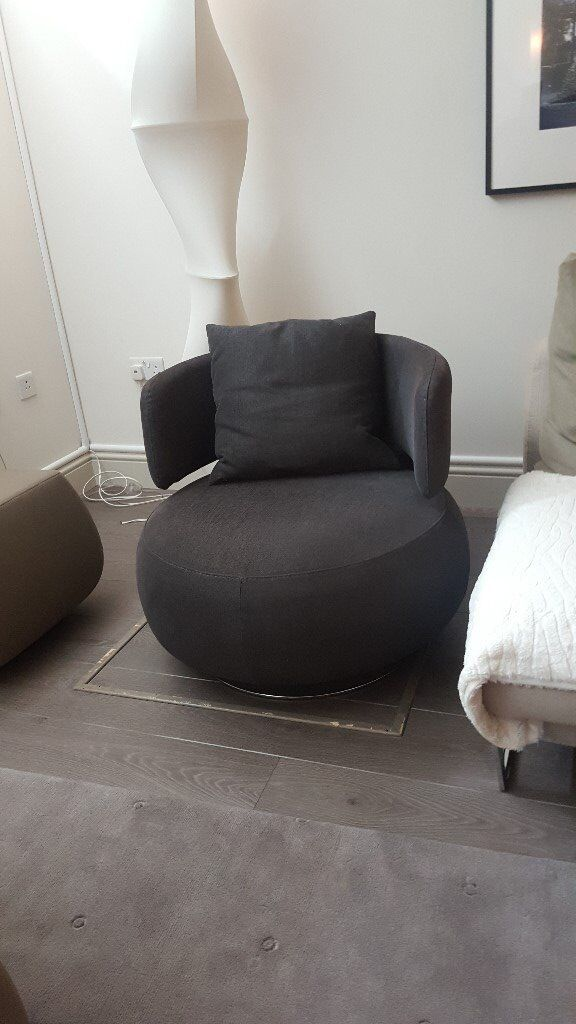 Curl Armchair From Roche Bobois Dark Grey In Fulham