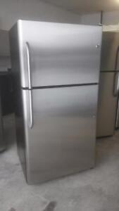 AMAZING GE STAINLESS STEEL FRIDGE WITH FREE DELIVERY & 90 DAYS REPLACEMENT  WARRANTY.($397)