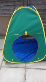 Play tent. Fold away, pop up tent for children.