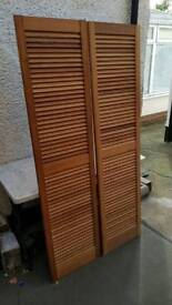 Pair of Pine Louvre Doors Vented Open Slatted, 1829 x 457mm Wardrobe & Cabinet Doors