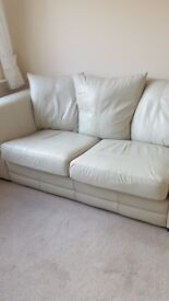 2 SEATER LEATHER CREAM SOFA