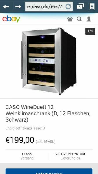 caso wineduett weinklimaschrank in nordrhein westfalen. Black Bedroom Furniture Sets. Home Design Ideas