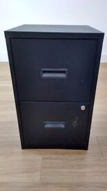 black metal 2 drawer filing cabinet with 2 keys - 66cm x 40cm x 40cm.