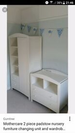 Mothercare Baby Nursery Set Padstow Wardrobe & Changing Station Porcelain White