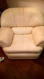 Cream leather single recliner chair.