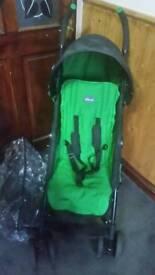 Green chicco echo stroller & rain cover