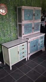2 x Retro Vintage 50s 60s Freestanding Kitchen Cabinet Cupboard Larder Unit