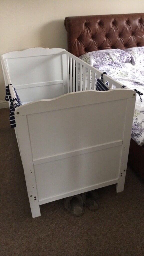 Cot bed white with mattress