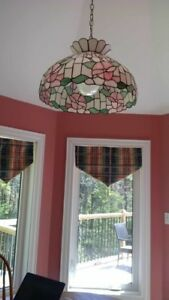Stained Glass Tiffany Light with Matching Mirror