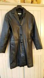 Two full length leather coats