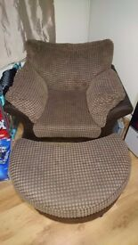 Large brown fabric chair