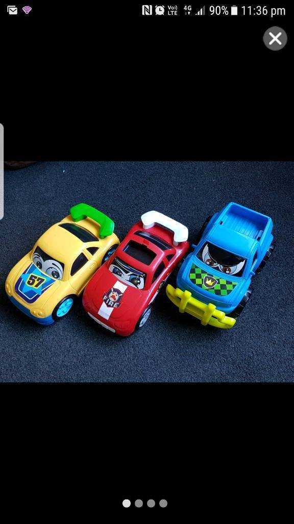 3 Character Carsin Radcliffe, ManchesterGumtree - These three cars and truck were bought separate but I am selling as a bulk. All in pretty good condition but the fire car has the lights on the top missing.Pick up only