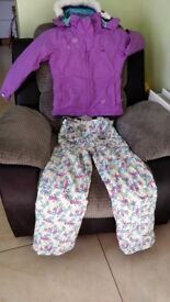 Girls colourful ski jacket and salopettes for sale £40