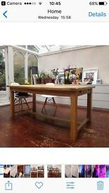 Large solid oak country table, seats 8