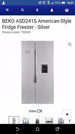 Big double fridge freezer in silver