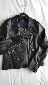 LEATHER BIKER JACKET - M&S BNWT women's SIZE 12 Faux leather