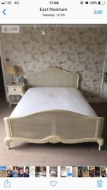French style cream coloured double bed , bedside cabinet and stylish wardrobe for sale