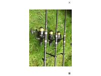 3 x CARP RODS WITH BAITRUNNER REELS OFFERS