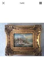 Antique style oil painting by Wood