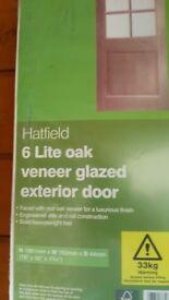 BRAND NEW OAK VENEER 6 PANEL EXTERIOR DOOR
