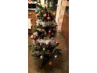 4ft Christmas tree, tinsel and baubles