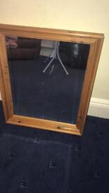 Pine bevelled edge mirror
