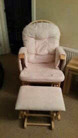 maternity and feeding rocking chair with stool