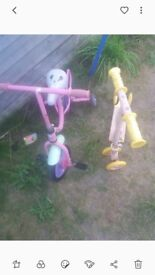 Childs bike and scooter