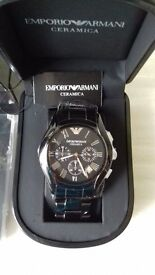BRAND NEW EMPORIO ARMANI CERAMIC MENS WATCH WITH SILVER HOURS IN BLACK BOXED WITH TAG,BOOKL,CERT