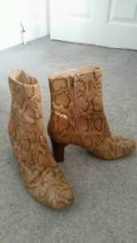 Next snake skin effect brown ankle boots size 8 used -good condition