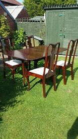 Drop leaf table and 4 chairs Mahogany colour