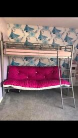 Silver bunk bed with sofa bed (pink or cream)