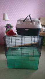 Gerbil cage, carrier and strawberry house