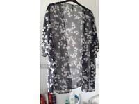 Dainty,see through kimono style diaphanous top