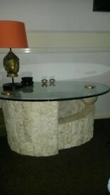 Marble glass top table