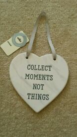 """Hanging Plaque """"Collect Moments Not Things"""""""