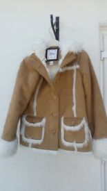 Gap Beige Suede Coat with Soft Fur Lining, Girls Age 13/XL