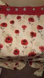 Red Poppy Eyelet Curtains