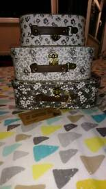 Three small stacking suitcases Sass & Belle wedding decorations NEW