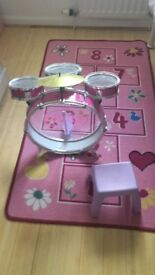 Toy Drum Kit (Pink) with chair and hopscotch mat.