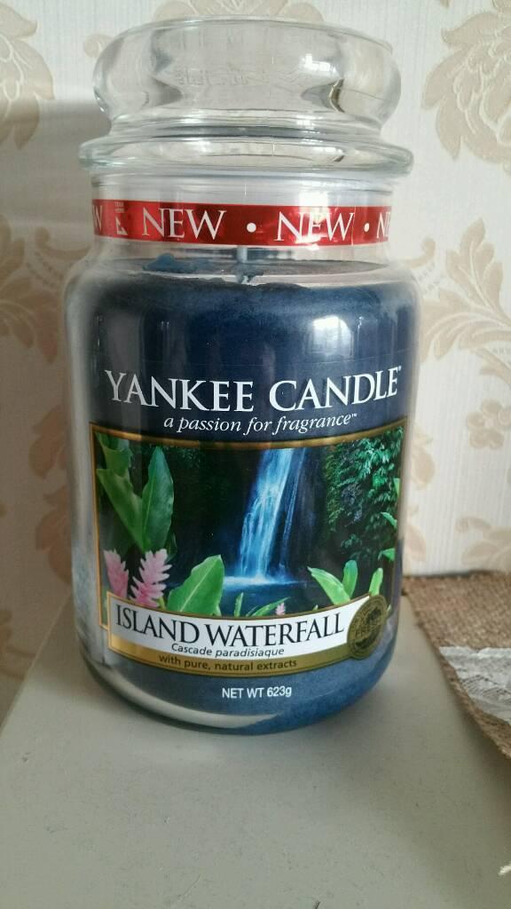 Island waterfall brand new large Yankee candle jar