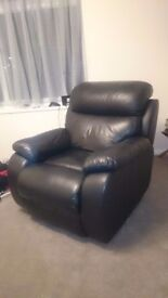 Black leather manual reclining chair