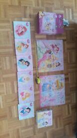 Disney princess jigsaws x 2, 25 poeces each, and set of disney princess my 1st library books