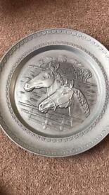 RARE Vintage Pewter Portrait Plate Wall Decor. Horses an Cabin. Angel Stamped