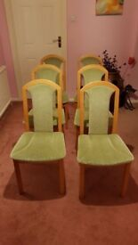 Vintage/Retro 1980's Set of 6 Wood and Fabric Dining Chairs Mint Condition Offers Welcome