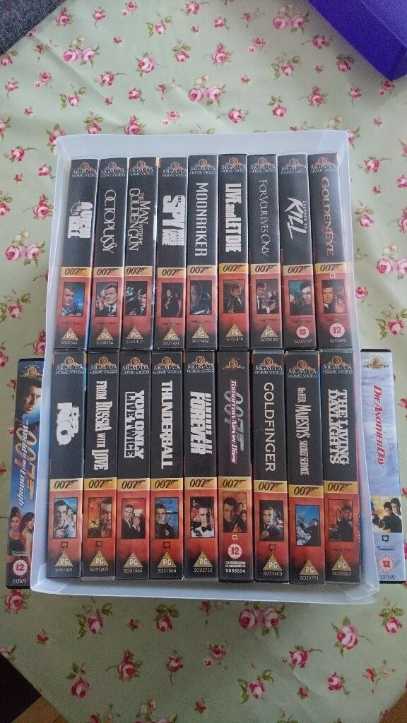 Collection of 20 James Bond VHS videos
