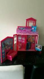 Barbie dream house with accessories